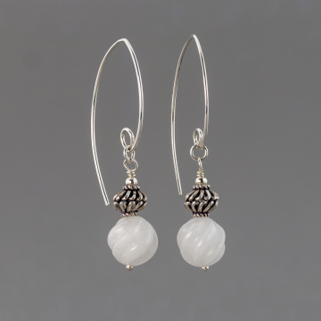 Carved Snow Quartz and Bali Style Twist Bead Earrings, Handmade Elegant Sterling Silver Earrings, Natural Stone