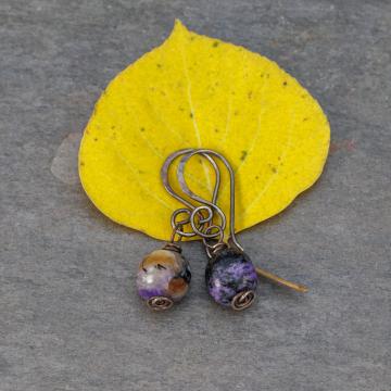 Simple Rustic Drop Earrings with Charoite Nuggets, Blackened Sterling Silver Purple Stone Earrings