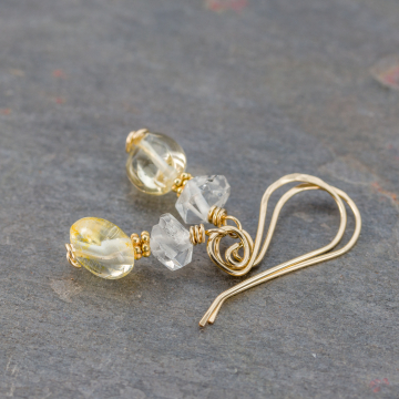 Citrine Earrings with Raw Quartz Crystals, 14k Gold Filled