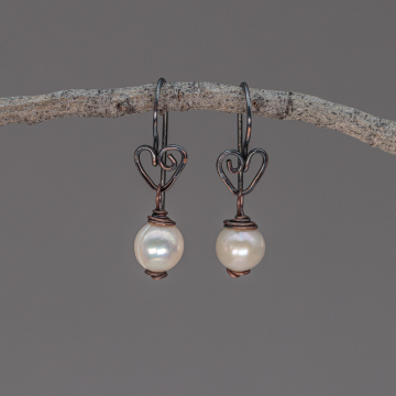 Rustic Pearl Earrings on Copper Heart Wires, Dark Copper Heart Earrings with Cream Color Potato Pearls