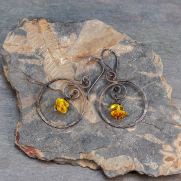 Copper Hoop Dangle Earrings with Amber, Rustic Amber Earrings