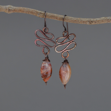 Copper Wire Organic Form Dangle Earrings with Brown Chalcedony Stones, Dark Copper Wire Wrapped Brown Stone Earrings