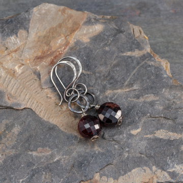 Garnet Earrings Sterling Silver, Rustic Gemstone Holiday Earrings