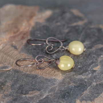 Natural Yellow Opal Pebble Earrings, Oxidized Sterling Silver Heart Wires