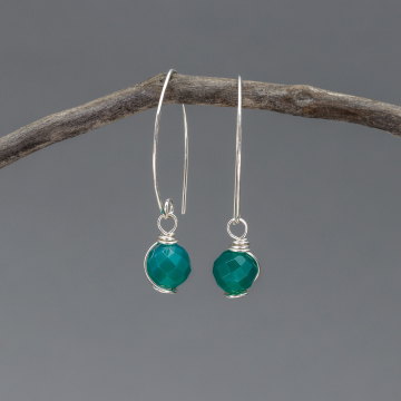 Holiday Green Chalcedony Earrings in Sterling Silver, Simply Elegant Green Stone Drop Earrings