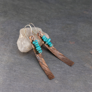 Long Copper Dangle Earrings with Campitos Turquoise Stones, Hammer Textured Copper, Southwest Statement Earrings