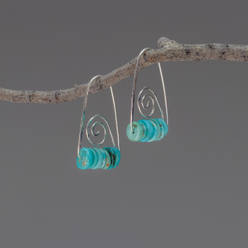 Sterling Silver Wire Earrings with Mexican Turquoise, Open Hoops with Primitive Spiral Design