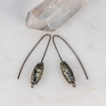 Modern Drop Earrings with Pyrite, Small Gray Earrings Handcrafted in Sterling Silver with Fools Gold