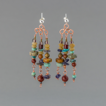 Post Chandelier Multi Stone Earrings, Earthy Stone Beaded Dangle Earrings in a Boho Tribal Style with Turquoise, Iolite, Amazonite, and Jasper Stones