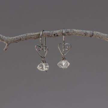 Raw Quartz Crystal Nugget Earrings on Niobium Heart Ear Wires, Nickel-Free Earrings with Double Pointed Quartz Stone