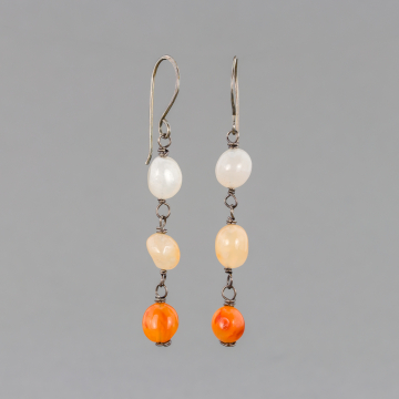 Red Agate Dangle Earrings in Sterling Silver, Linked Stone Linear Earrings with Orange Peach and White Pebbles