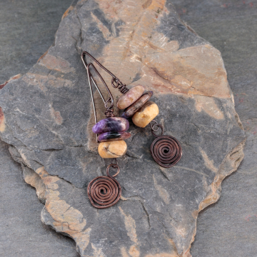Chunky Copper Dangle Earrings with Charoite and Feldspar, Peach Tan Black and Purple Natural Stone Earrings