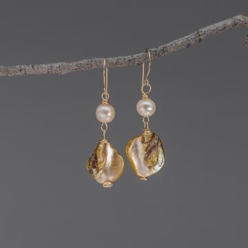 Freshwater Pearl and Shell Dangle Earrings, 14k Gold Filled Earrings