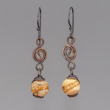 Copper Dangle Earrings with Picture Jasper Natural Stones, Handmade Brown Stone Earrings