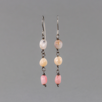 Pink Opal Pebble Earrings, Multi Stone Dangle Earrings in Shades of Pink and Peach, Nickel-Free Ear Wires