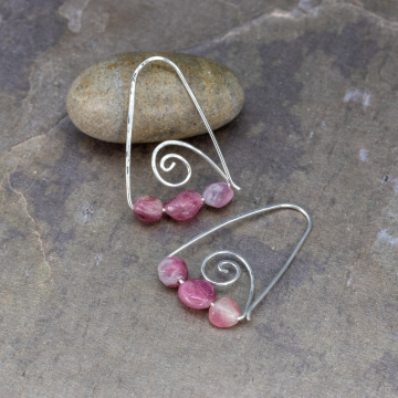 Sterling Silver Wire Threader Earrings with Pink Tourmaline Stones, Triangular Drop Earrings with Pink Gemstones