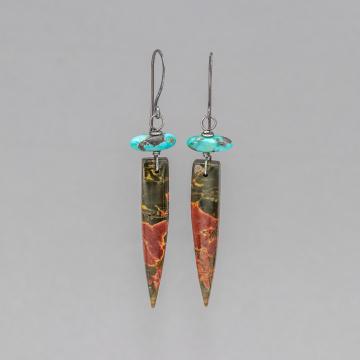 Stone Dagger Earrings in Sterling Silver, Red Creek Jasper Earrings and Nevada Turquoise Earrings