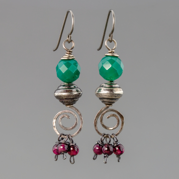 Green Chalcedony and Garnet Gemstone Earrings in Antiqued Sterling Silver, Gypsy Style Holiday Earrings
