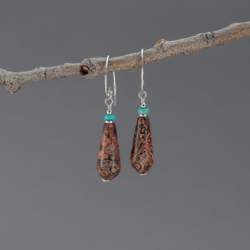 Long Elegant Natural Stone Teardrop Earrings, Sterling Silver Red Leopardskin Jasper Earrings with Campitos Turquoise