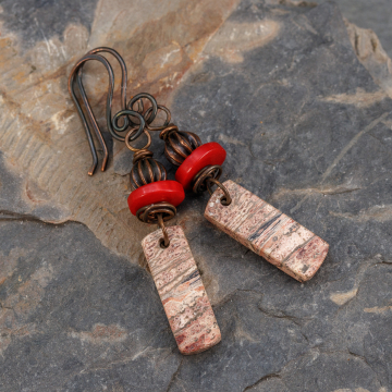 Earthy Pink and Brown Natural Stone Earrings, Copper Earrings with Rhyolite and Red Coral