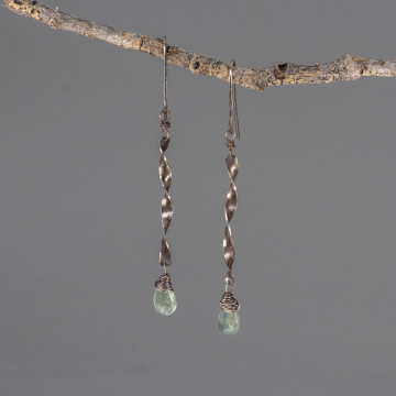 Twisted Sterling Silver Dangle Earrings with Moss Aquamarine Gemstone