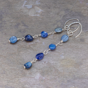 Kyanite Silver Linear Earrings, Long Silver Earrings with Blue Kyanite Wire Wrapped Links