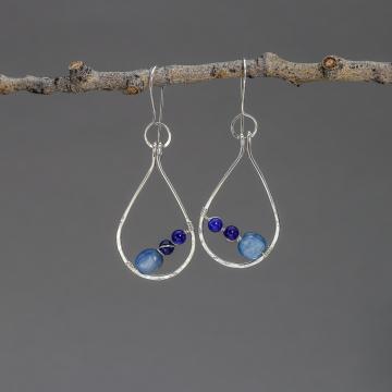 Artisan Sterling Silver Hoop Earrings With Blue Gemstones, Kyanite and Lapis Lazuli Raindrop Earrings