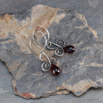 Sterling Silver Scroll Earrings with Deep Garnet Red Crystals, Dark Patina Silver Wire Wrapped Holiday Earrings