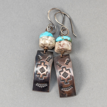 Southwest Inspired Textured Copper Earrings, Turquoise and Agate Natural Stone Earrings in Copper and Sterling Silver