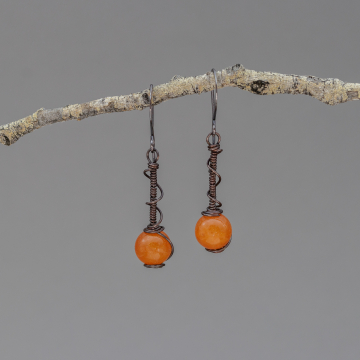 Bright Orange Jade Earrings in Copper, Coiled Wire Spiral Wrap Stone Bead Earrings