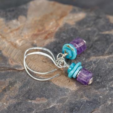 Genuine Amethyst and Turquoise Earrings, Sterling Silver Gemstone Beaded Earrings