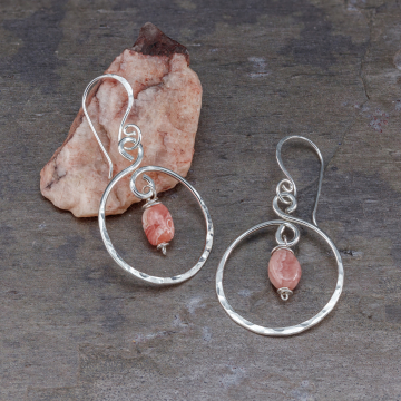 Sterling Silver Hoop Earrings with Pink Rhodochrosite Stones, Circular Hoop Dangle Earrings