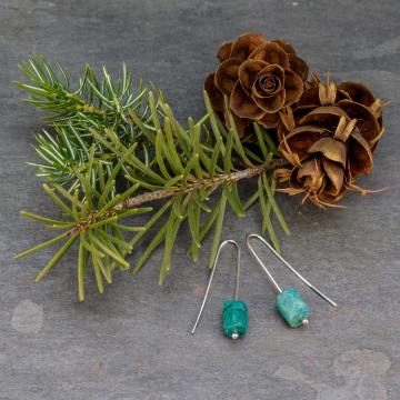 Unusual Drop Earrings, Sterling Silver Geometric Earrings with Teal Chrysocolla Stones