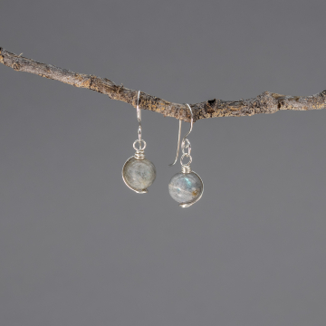 Sterling Silver Wire Wrapped Labradorite Earrings, Grey Stone Earrings with Iridescent Blue Color Play