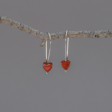 Argentium Silver Minimalist Drop Earrings with Tiny Red Jasper Hearts