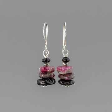 Pink and Black Tourmaline Earrings in Stacked Stones Design, Pink Stone Chip Earrings in Sterling Silver