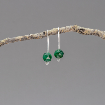 Sterling Silver Modern Drop Earrings with Verdite Natural Stones, Green Stone Minimalist Earrings for Christmas Season
