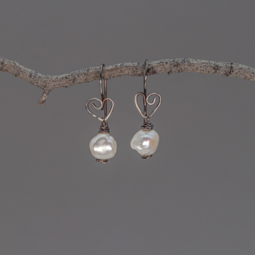 Sterling Silver Wire Wrapped Pearl Earrings, Artisan Earrings with Heart Motif and Baroque Pearls