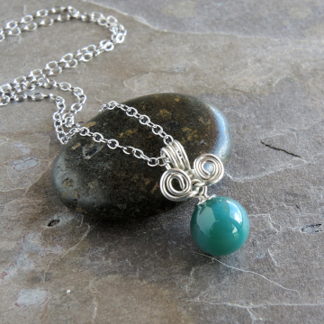 Sterling Silver Wire Wrap Green Gemstone Sphere Necklace, Delicate Necklace 16 Inch Silver Chain
