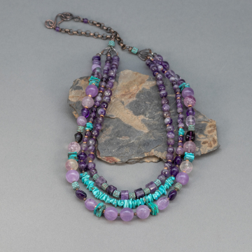 Beaded Gemstone Necklace and Earrings Set,  Fluorite Amethyst and Genuine Turquoise Natural Stones