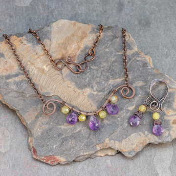 Yellow Opal and Amethyst Necklace and Earrings Set, Copper Wire Wrapped Purple Gemstone Bar Necklace with Dainty Earrings to Match