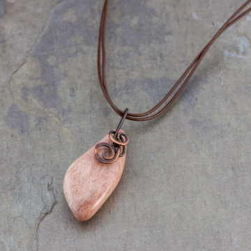 Colorado Tumbled Stone Choker Necklace,  Dark Copper Wire Wrapped Pink Feldspar Stone