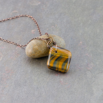 Tiger's Eye Pendant in Bronze, Mixed Brown and Blue Tiger Eye Tumbled Stone 20-inch Necklace