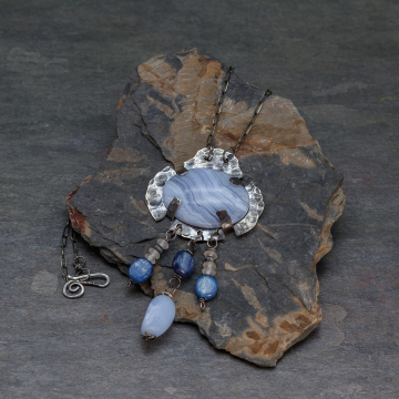 Rustic Sterling Silver Metalwork Necklace with Blue Lace Agate, Kyanite, and Chalcedony, Denim Blue Boho Necklace