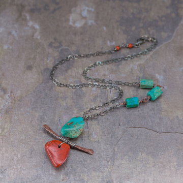 Chrysocolla Red Jasper Necklace, Asymmetrical Necklace with Torii Inspired Stone and Wire Pendant, Sterling Silver Copper and Jasper Necklace