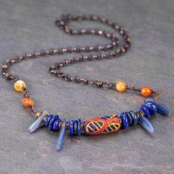 African Krobo Bead Necklace with Lapis Kyanite and Red Agate, Colorful Bib Necklace