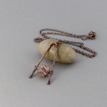 Geometric Pendant, Hammered Copper Triangle Necklace with Red Leopardskin Jasper Stone