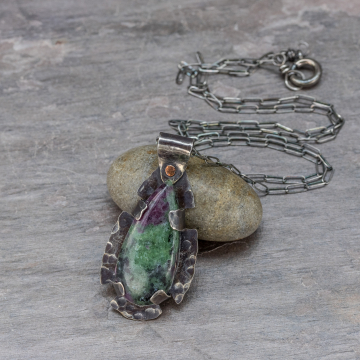 Ruby-Zoisite Necklace in Sterling Silver, Earthy Green Stone Pendant