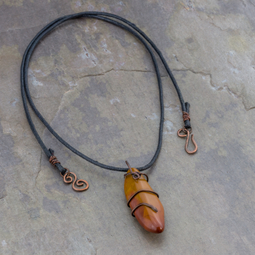 Colorado Found Stone Necklace on Cotton Cord, Boho Copper Wire Wrap Pendant