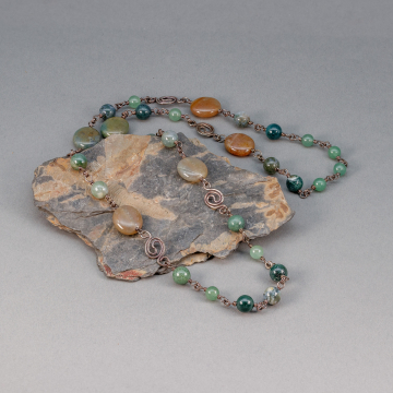 Green Stone Necklace, Sterling Silver Wire Wrapped Green Aventurine and Jasper Station Necklace